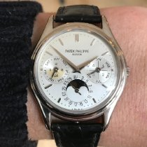 Patek Philippe Perpetual Calendar pre-owned 36mm Silver Moon phase Date Perpetual calendar Fold clasp
