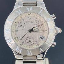 Cartier 21 Chronoscaph Stahl 38mm Weiß Keine Ziffern