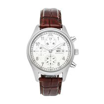 IWC Pilot Spitfire Chronograph pre-owned 42mm Silver Chronograph Date Crocodile skin