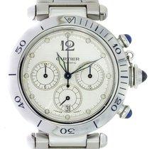 Cartier Pasha Seatimer gebraucht 38mm Silber Chronograph Datum Stahl