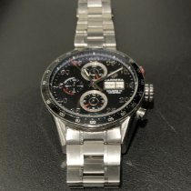 TAG Heuer Carrera Calibre 16 pre-owned 43mm Black Chronograph Date Steel