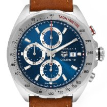 TAG Heuer Formula 1 Calibre 16 pre-owned 44mm Blue Chronograph Date Tachymeter Leather