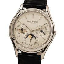 Patek Philippe Platin Automatik Silber Keine Ziffern 36mm gebraucht Perpetual Calendar