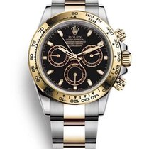 Rolex Daytona Золото/Cталь 40mm Черный Без цифр