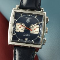 TAG Heuer Monaco occasion 38mm Bleu Chronographe Date Cuir