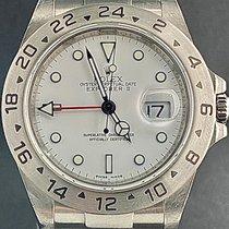 Rolex Explorer II Staal 40mm Wit Geen cijfers