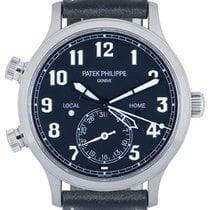Patek Philippe Travel Time Oro blanco 42mm Azul Arábigos
