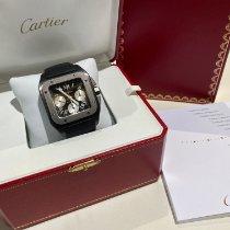Cartier Santos 100 подержанные 46mm Черный Хронограф Дата Ткань