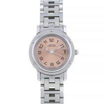 Hermès Clipper Stal 24mm Różowy Arabskie