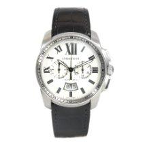 Cartier Calibre de Cartier Chronograph pre-owned 42mm Silver Chronograph Date Crocodile skin