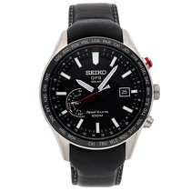 Seiko Sportura pre-owned 45mm Black Date GMT Leather
