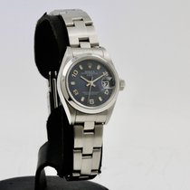 Rolex Oyster Perpetual Lady Date Сталь 26mm Синий Aрабские