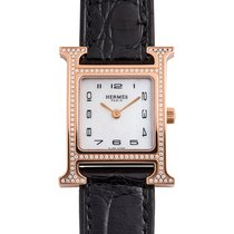 Hermès Złoto różowe Kwarcowy Masa perłowa 30mm używany Heure H