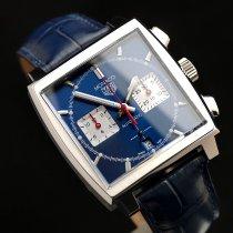 TAG Heuer Monaco occasion 39mm Bleu Chronographe Date Cuir de crocodile