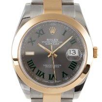 Rolex Datejust Zlato/Zeljezo 41mm Siv