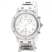 Hermès Clipper Stal 31mm Biały Arabskie