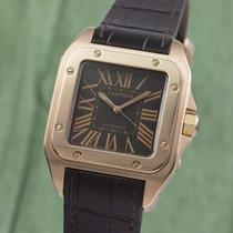 Cartier Rotgold Automatik Braun 38.5mm gebraucht Santos 100