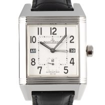 Jaeger-LeCoultre Reverso Squadra Hometime pre-owned 41mm Silver Date GMT Crocodile skin