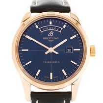 Breitling Transocean Day & Date Rose gold 43mm Black No numerals