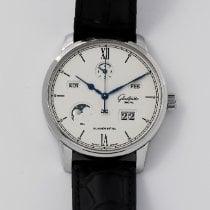 Glashütte Original Senator Excellence pre-owned 42mm White Moon phase Date Month Perpetual calendar Crocodile skin