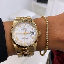 Rolex Żółte złoto Automatyczny Biały Bez cyfr 36mm używany Datejust