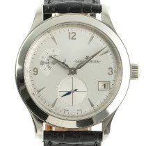 Jaeger-LeCoultre Master Hometime pre-owned 40mm Silver Date GMT Crocodile skin