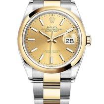 Rolex Datejust Gold/Stahl 36mm Champagnerfarben Keine Ziffern