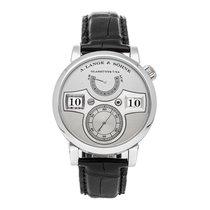 A. Lange & Söhne Platinum Manual winding Silver Arabic numerals 41mm pre-owned Zeitwerk