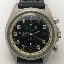 Glycine Combat gebraucht 43mm Schwarz Chronograph Datum Dornschließe