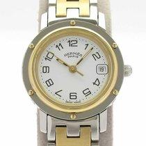 Hermès Clipper używany 24mm Biały Stal