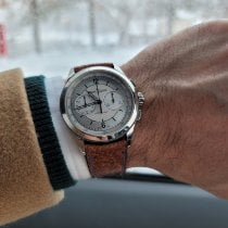 Jaeger-LeCoultre Master Chronograph pre-owned Silver Chronograph Crocodile skin