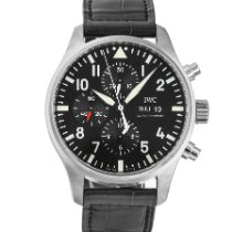 IWC Pilot Chronograph pre-owned 43mm Black Chronograph Date Weekday Crocodile skin