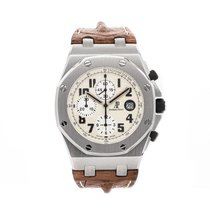 Audemars Piguet Royal Oak Offshore Chronograph pre-owned 42mm White Chronograph Date Tachymeter Crocodile skin
