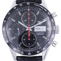 TAG Heuer Carrera Calibre 16 pre-owned 41mm Black Chronograph Date Leather