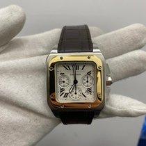 Cartier Santos 100 Золото/Cталь 42mm Белый Римские