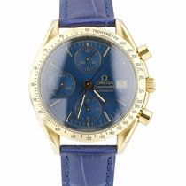 Omega Yellow gold Automatic Blue 38mm pre-owned Speedmaster