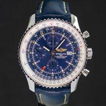 Breitling Navitimer World usados 46mm Azul Cronógrafo Fecha GMT Piel