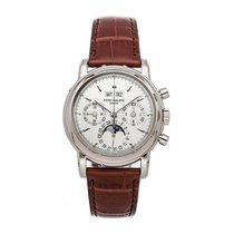 Patek Philippe Perpetual Calendar Chronograph White gold 36mm Silver No numerals