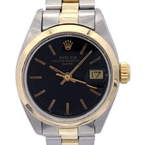 Rolex Oyster Perpetual Lady Date Gold/Steel 26mm Black No numerals