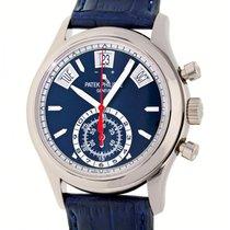 Patek Philippe Annual Calendar Chronograph gebraucht 40mm Blau Datum Jahreskalender Krokodilleder