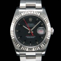 Rolex Datejust Turn-O-Graph Stahl 36mm Schwarz Keine Ziffern