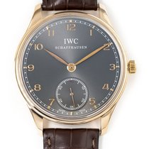 IWC Portuguese Hand-Wound pre-owned 44mm Grey Crocodile skin