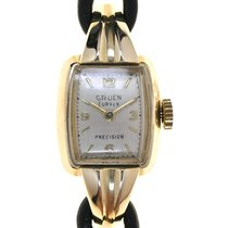 Gruen Curvex Yellow gold 33mm Silver Arabic numerals