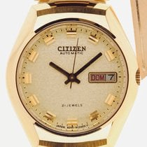 Citizen Yellow gold Automatic Champagne No numerals 35mm new
