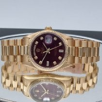 Rolex Day-Date 36 Yellow gold 36mm Red No numerals United Kingdom, Ringwood