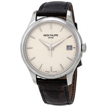 Patek Philippe Calatrava pre-owned 39mm White Date Leather