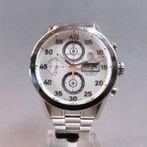 TAG Heuer Carrera Calibre 16 pre-owned 43mm White Chronograph Date Weekday Tachymeter Steel