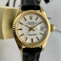 Rolex Lady-Datejust pre-owned 26mm White Date Leather