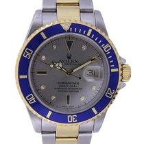 Rolex Submariner Date Gold/Steel 40mm Silver No numerals