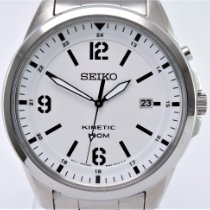 Seiko Kinetic Steel 40mm White Arabic numerals